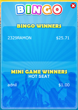 bingo liner winning bingo message