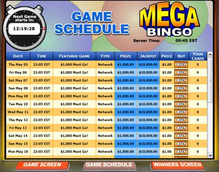 bingo liner mega bingo network online bingo game