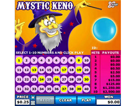 bingo liner mystic keno online instant win game