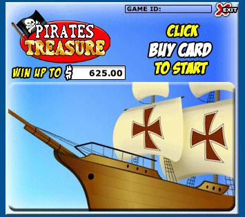 bingo liner pirates treasure scratch cards online instant win game