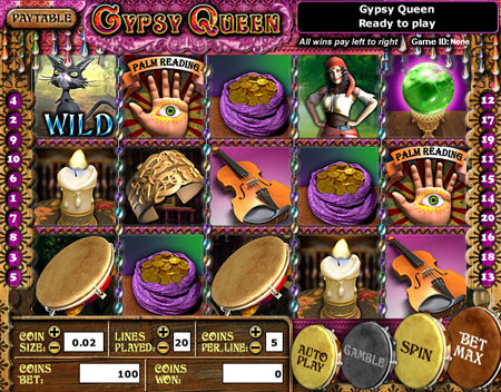 bingo liner gypsy queen 5 reel online slots game